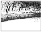 charcoal sketch of chartiers creek in snow