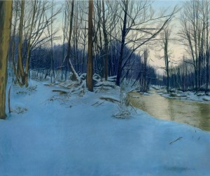 pastel painting of snowy woods with stream at dusk