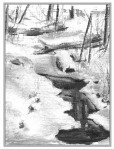 charcoal sketch of small stream in heavy snow