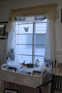 shop window with curtains and valance