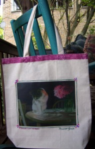 peaches and peonies tote bag