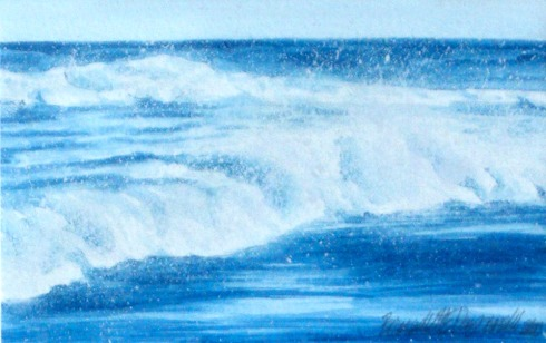 watercolor of waves in blue and white