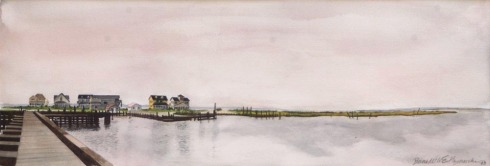 watercolor of beach houses on the bay