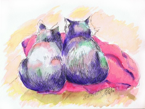 painting of two cats