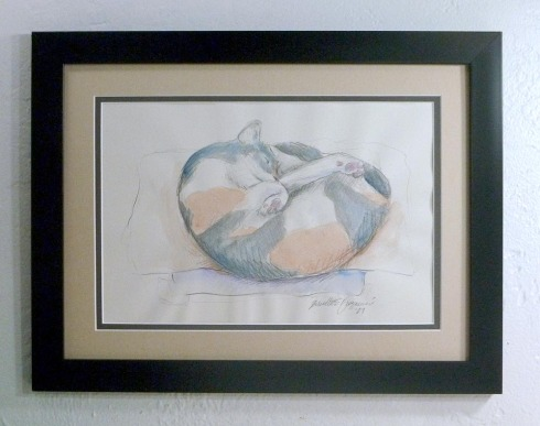 framed pencil and watercolor sketch of cat