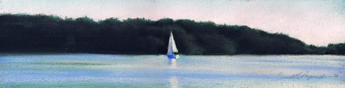 pastel painting of sailboat on lake