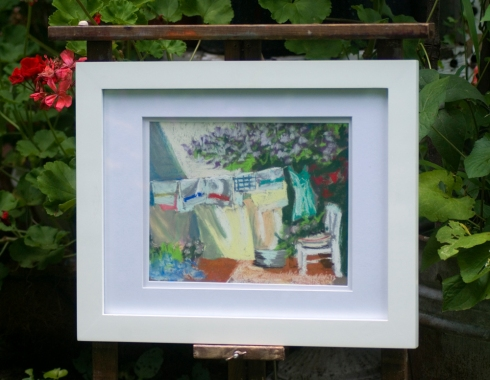 Lilacs and Laundry framed original pastel.