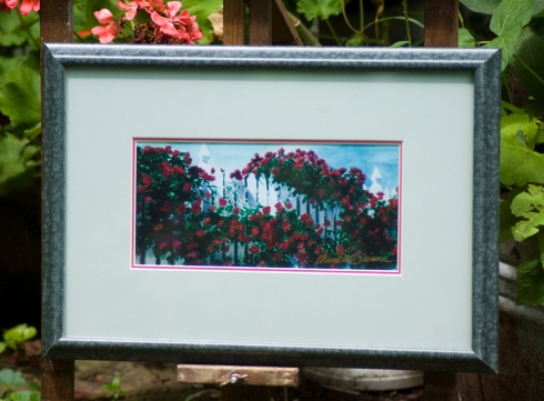 Red Climbers framed print.