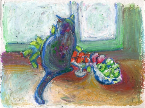 """Cat With Fruit"", 5″ x 7″ oil pastel on textured paper, © Bernadette E. Kazmarski"
