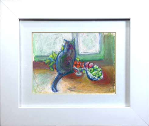 framed oil pastel painting of cat