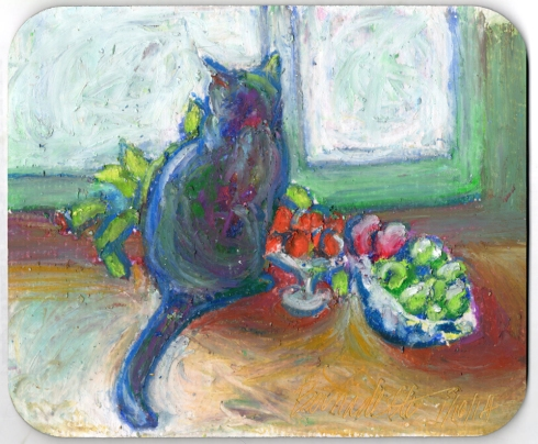 """Cat with Fruit"" mousepad"