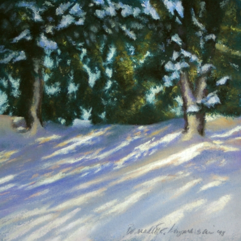 painting of snow under trees morning