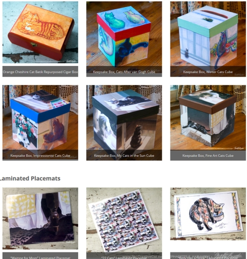 Handmade Feline-themed Gift Items from Portraits of Animals.